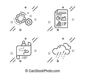 regnerisch, vektor, heiligenbilder, set., wetter, zahnräder, bericht, pfad, dokument, zeichen., reise