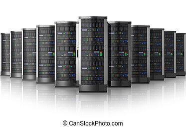 Reihe von Netzwerkservern im Datenzentrum