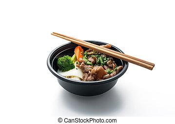 Reis mit gebratenem Schweinefleisch und Spiegelei.