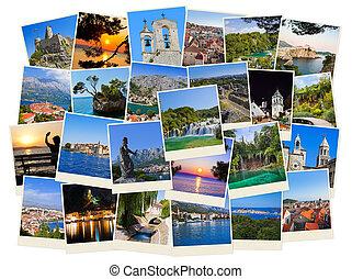 reise, kroatien, fotos, stapel
