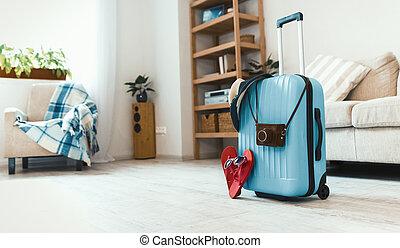 reise, stehende , boden, koffer, room.