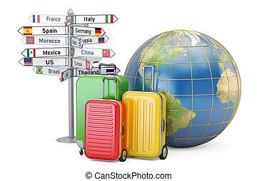 Reisekonzept. Koffer, Schild und Erdkugel, 3D Rendering