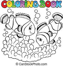 reizend, färbung, zwei, clown, buch, fische