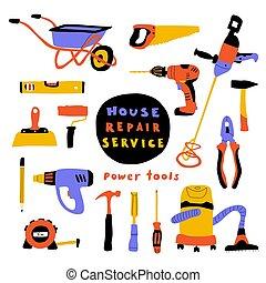 reizend, lustiges, baugewerbe, reparatur, haus, gekritzel, werkzeuge, equipment., satz, lettering.