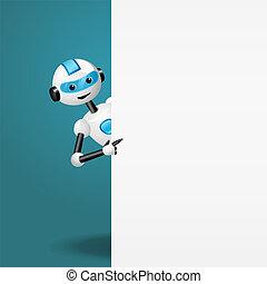 reizend, zeigen, roboter, anschauen, finger, weiß, leerer , brett
