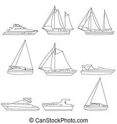 rennboot, heiligenbilder, segelboot, boote, motor, yacht, lineart, editable, satz, gefäß, abbildung, schlag, vektor, schiff, logo.