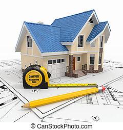 Residential House mit Werkzeugen für Architekturpläne.