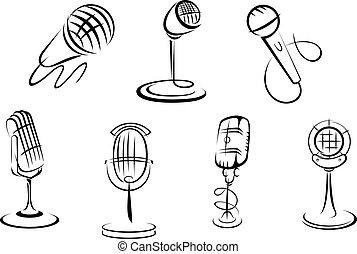 Retro-Mikrofonskizzen.