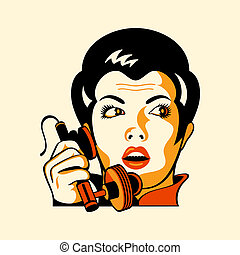 Retro-Telefon-Frau