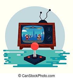 Retro Videogame Arcade Konsole runden Rahmen.