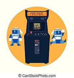 Retro Videogame Arcade-Maschine runden Rahmen.