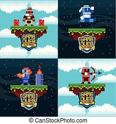 Retro Videogame Arkadenkarten Set.