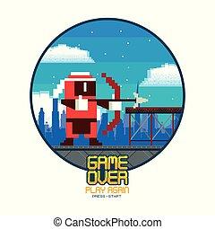 Retro Videogame-Bildschirm Arcade Karten runden Rahmen.