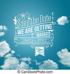 retten, holiday., image., wedding, invitation., vektor, persönlich, datum