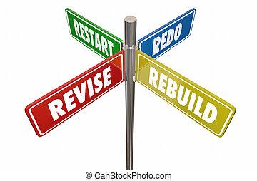 Revidieren Sie Neustart Roto Straßenschilder 3d Abbildung.