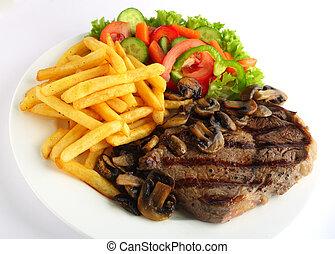 ribeye, mahlzeit, steak