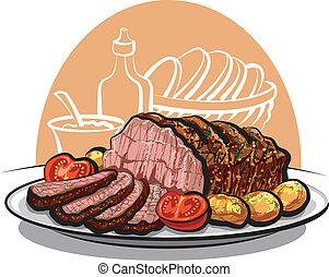 rindfleisch, gebraten, kartoffeln, braten