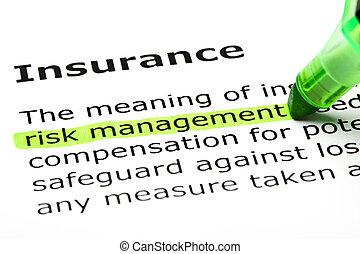 """""""Risikomanagement"""" wurde unter """"Versicherung"""" hervorgehoben."""