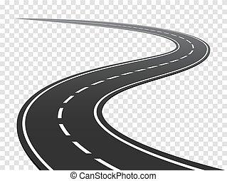 road., verkehr, reise, wicklung, highway., gebogen