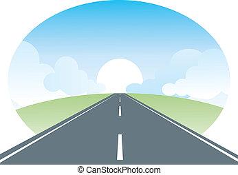 Roadlandschaft. Vektor Natur Illustration