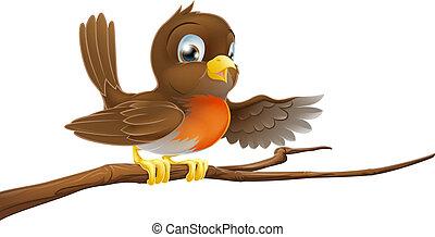 Robin Bird auf der Astspitze.