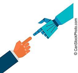 Roboter und menschliche Hände.