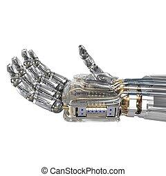 Roboterhand hält imaginäres Objekt