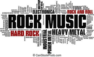 Rockmusikstile Wortwolke-Blase-Tag-Baumvektor.