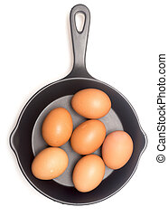 rohe eier, pfanne