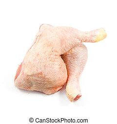 Rohe Hühnerbeine auf weißem Hintergrund. Frisches rohes Truthahnbein, isoliert im weißen Hintergrund