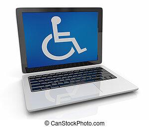 Rollstuhlfahrer Symbol Behinderung Laptop Computersoftware 3D Illustration.