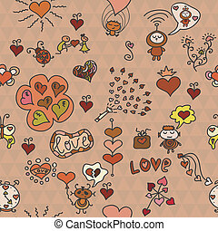 Romantische, nahtlose Muster mit vielen lustigen Elementen