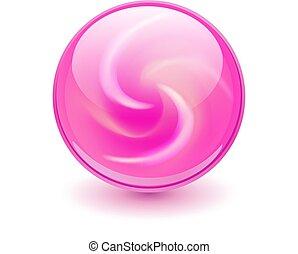 rosa, glas, kugelförmig