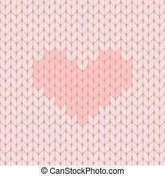 rosa, herz, gestrickt, seamless, muster