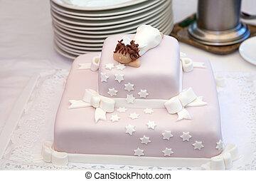 rosa, wenig engel, oberseite, taufe, kuchen