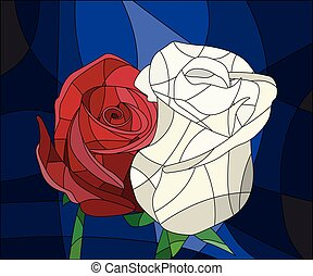 rose, hell, befleckt, blätter, glas, hintergrund, blumen, abbildung, frame., rotes , brauner