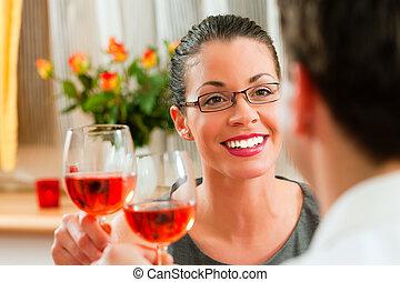 rose, paar, wein trinken