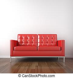 Rote Couch im weißen Zimmer