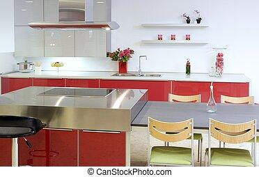 Rote Inselküche, silbernes modernes Innenhaus