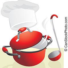 Rote Pfanne mit Brei. Essenszeit