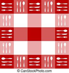 Rote Tischdecke mit Besteckmuster