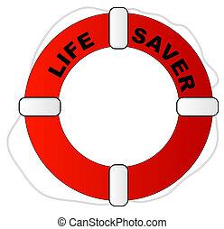 Rote und weiße Lebensretter mit Worten, die Leben retten