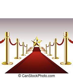 Roter Teppich mit goldenem Stern