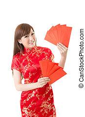 Roter Umschlag, chinesische Frau