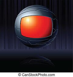 Roter und schwarzer futuristischer Globus