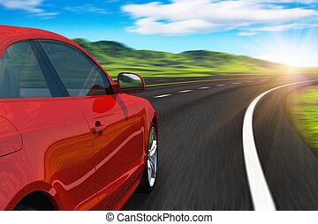 Rotes Auto fährt an der Autobahn