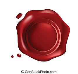 Rotes Wachssiegel mit kleinen Tropfen.