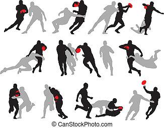 Rugby-Aktionsgruppe stellt Silhouette dar