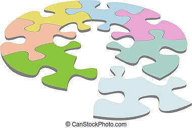 Runde Puzzle 3D-Kreislauflösung