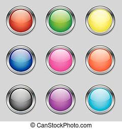 Runde Web-Tasten in verschiedenen Farben.